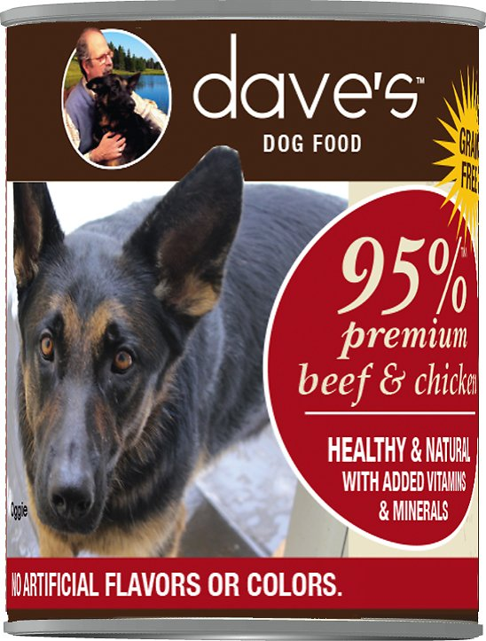 Dave's Dog Food 95% Premium Beef & Chicken Recipe Grain-Free Canned Dog Food, 13-oz