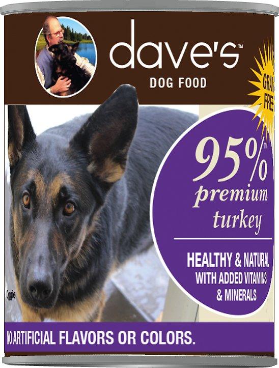 Dave's Dog Food 95% Premium Turkey Recipe Grain-Free Canned Dog Food, 13-oz