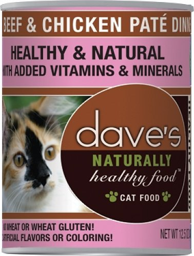 Dave's Cat Food Naturally Healthy Grain-Free Beef & Chicken Dinner Canned Cat Food, 5.5-oz