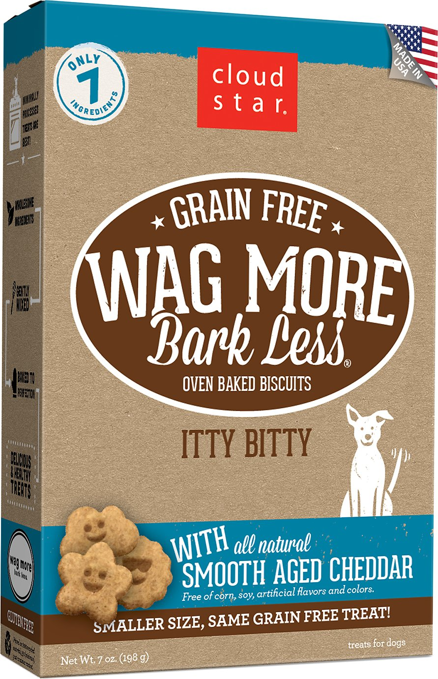 Cloud Star Wag More Bark Less Grain-Free Itty Bitty Oven Baked with Smooth Aged Cheddar Dog Treats, 7-oz bag