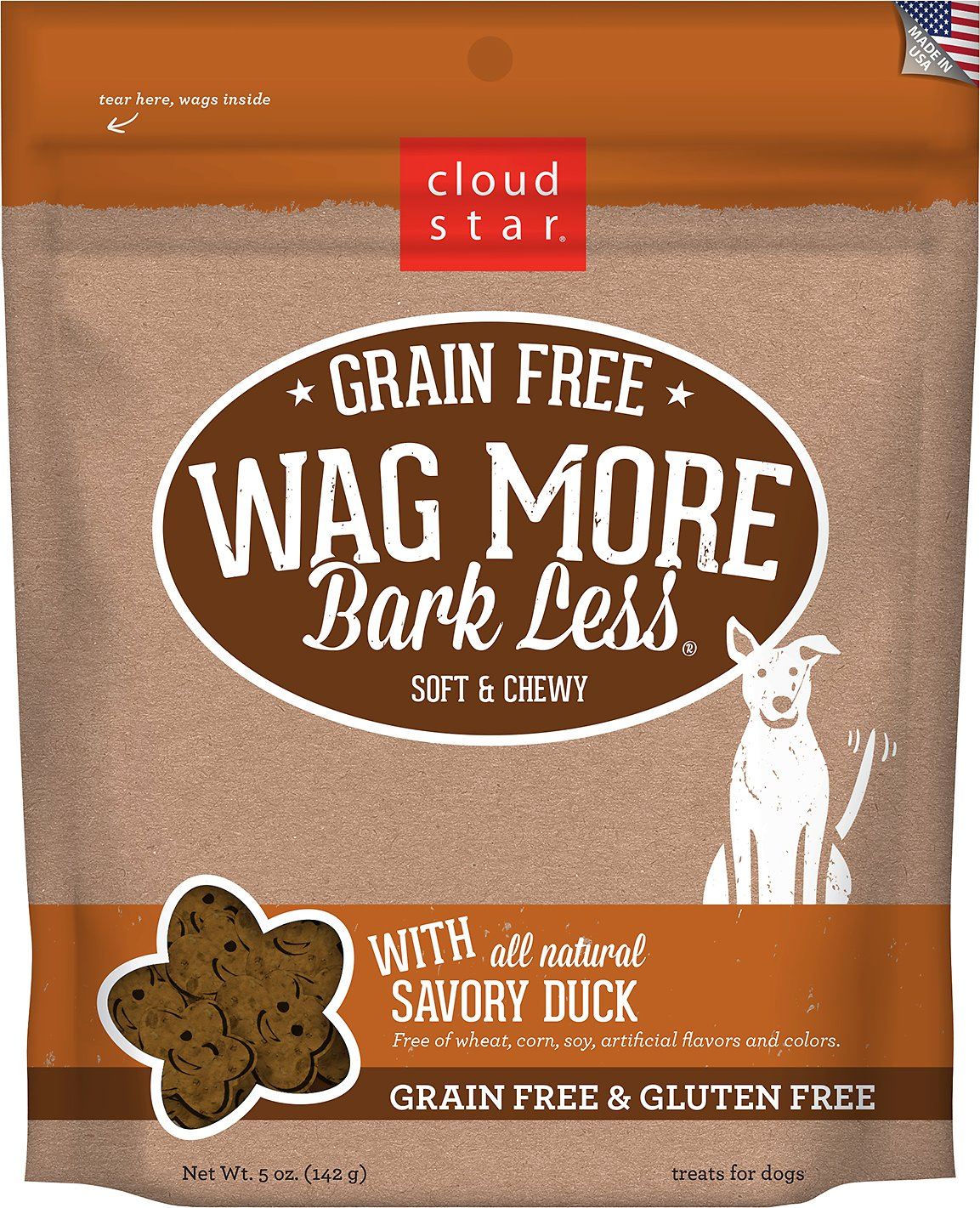 Cloud Star Wag More Bark Less Grain-Free Soft & Chewy with Savory Duck Dog Treats, 5-oz bag