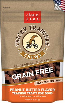 Cloud Star Tricky Trainers Chewy Grain Free Peanut Butter Flavor Dog Treats, 5-oz bag