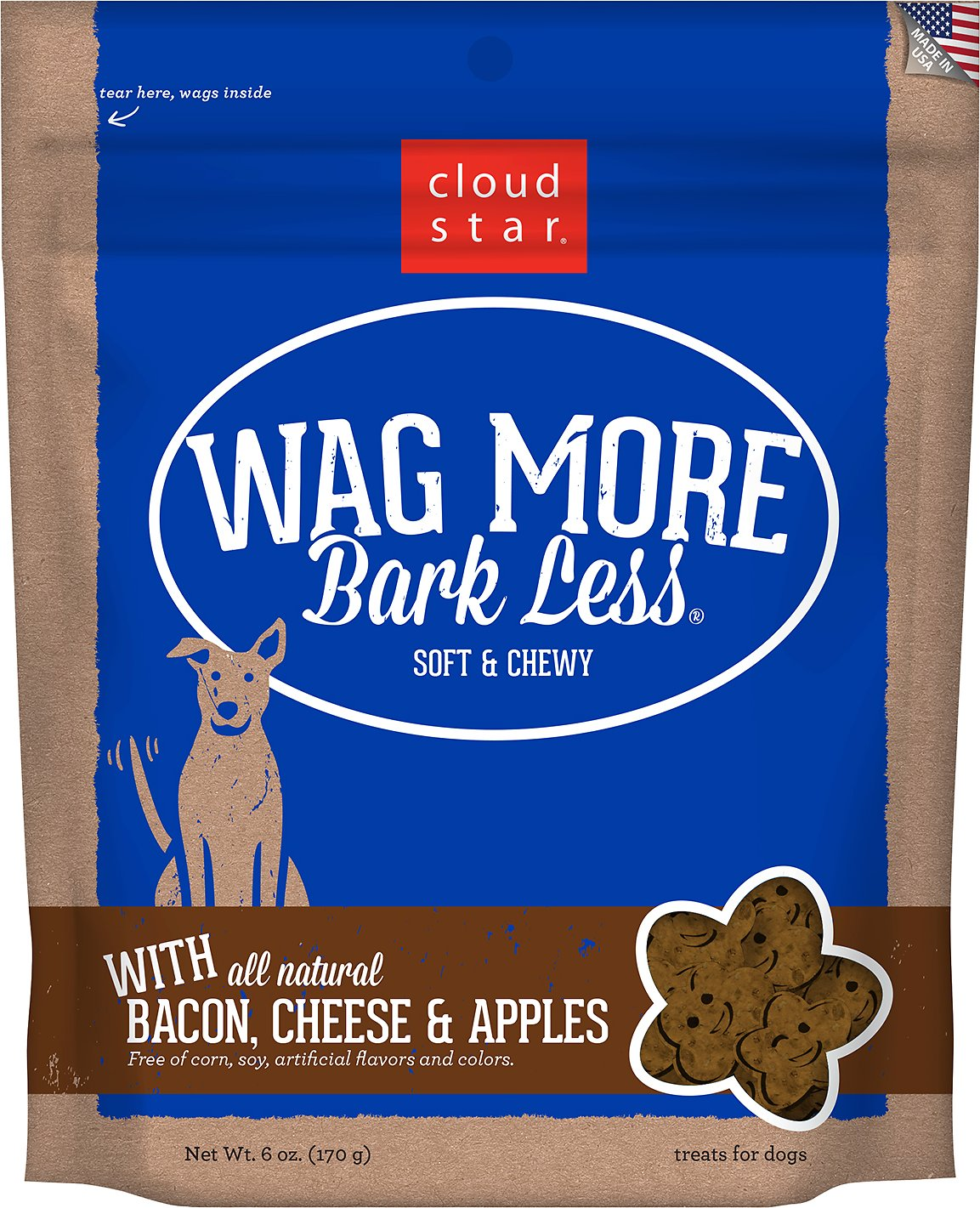 Cloud Star Wag More Bark Less Soft & Chewy with Bacon, Cheese & Apples Dog Treats, 6-oz bag