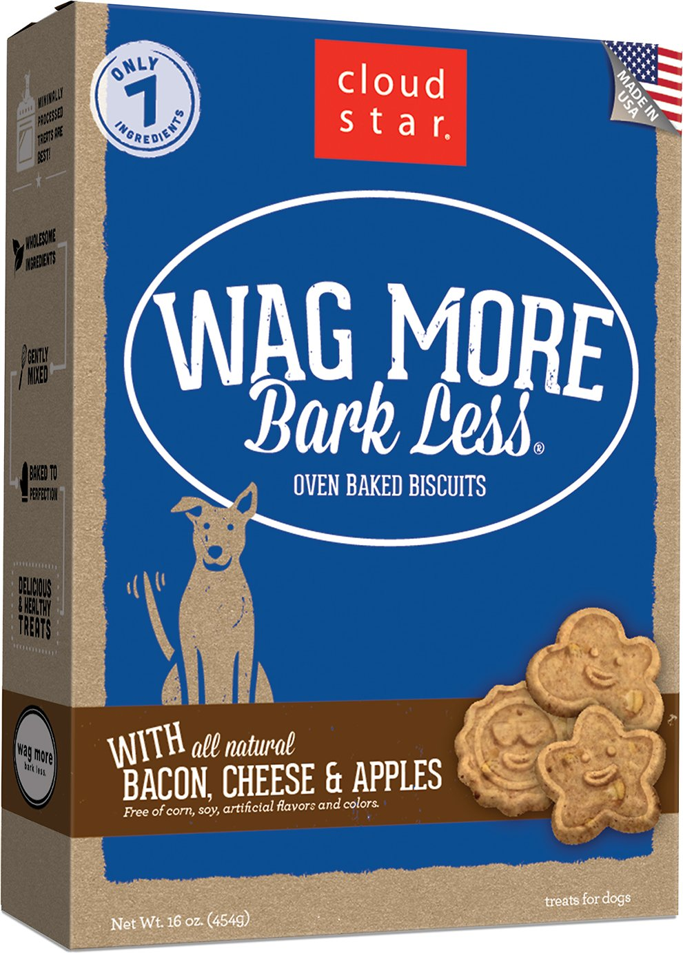 Cloud Star Wag More Bark Less Oven Baked with Bacon, Cheese & Apples Dog Treats Image