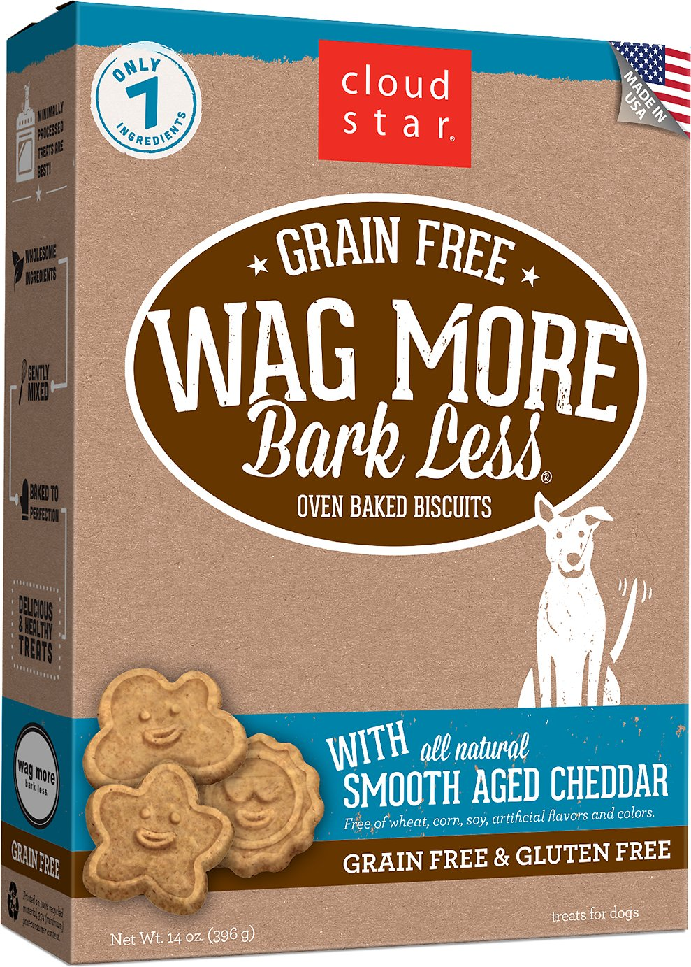Cloud Star Wag More Bark Less Grain-Free Oven Baked with Smooth Aged Cheddar Dog Treats, 14-oz box (Weights: 14 ounces) Image