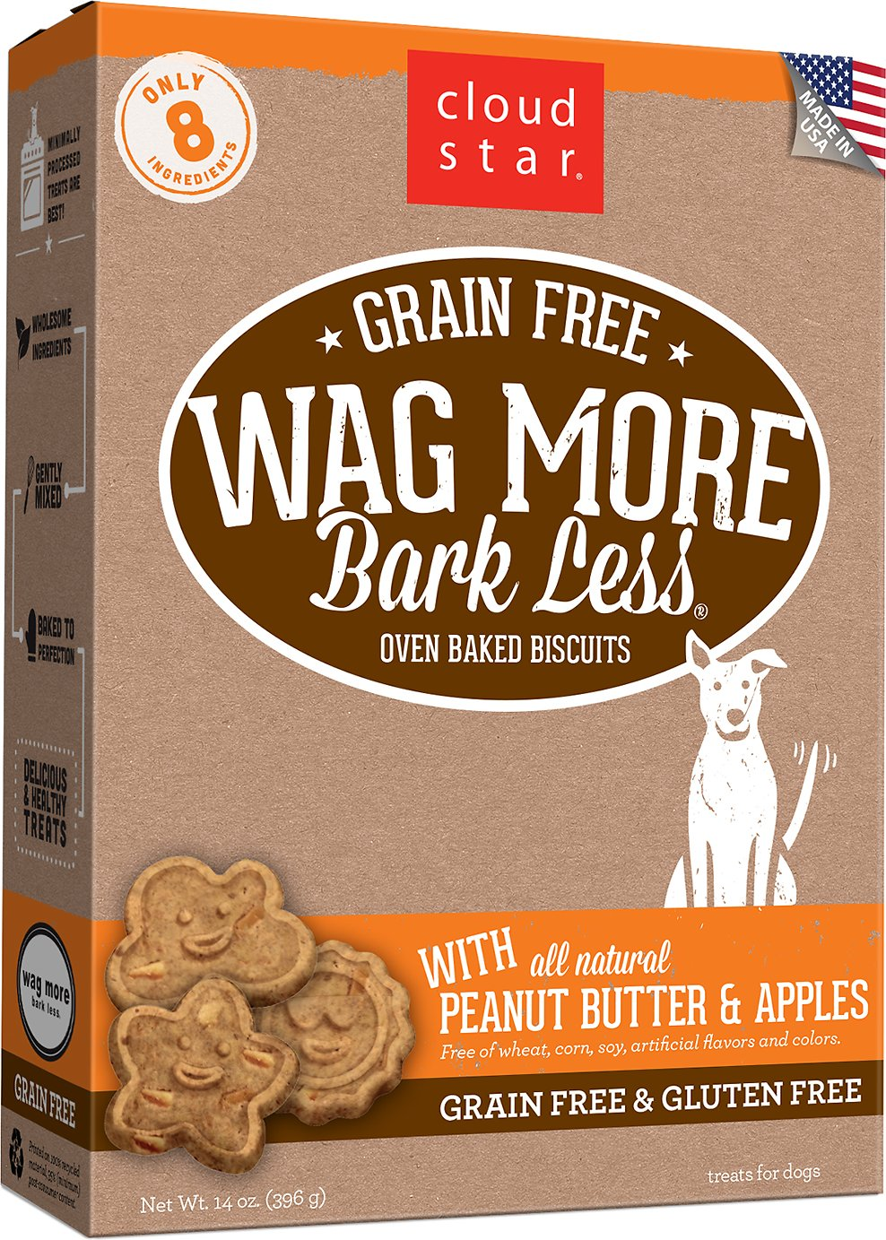 Cloud Star Wag More Bark Less Grain-Free Oven Baked with Peanut Butter & Apples Dog Treats Image