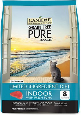 Canidae Grain-Free PURE Ocean with Tuna Indoor Formula Limited Ingredient Diet Dry Cat Food, 5-lb
