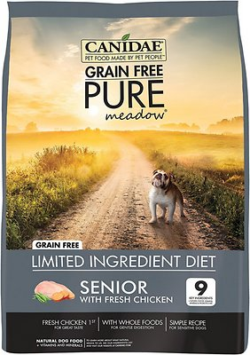 Canidae Grain-Free PURE Meadow Senior Formula with Chicken Limited Ingredient Diet Dry Dog Food, 24-lb
