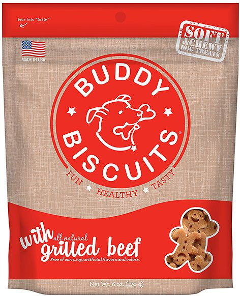 Buddy Biscuits Original Soft & Chewy with Grilled Beef Dog Treats, 6-oz bag