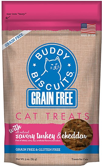 Buddy Biscuits Grain-Free with Savory Turkey & Cheddar Cat Treats, 3-oz bag Image