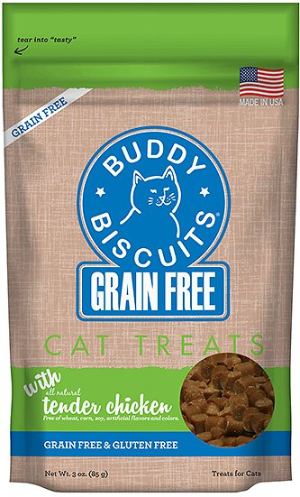 Buddy Biscuits Grain-Free with Tender Chicken Cat Treats, 3-oz bag
