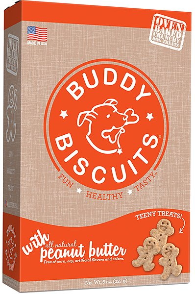 Buddy Biscuits Oven Baked Teeny Treats with Peanut Butter, 8-oz box (Weights: 8oz) Image