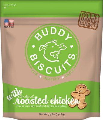 Buddy Biscuits with Roasted Chicken Oven Baked Dog Treats, 3.5-lb bag