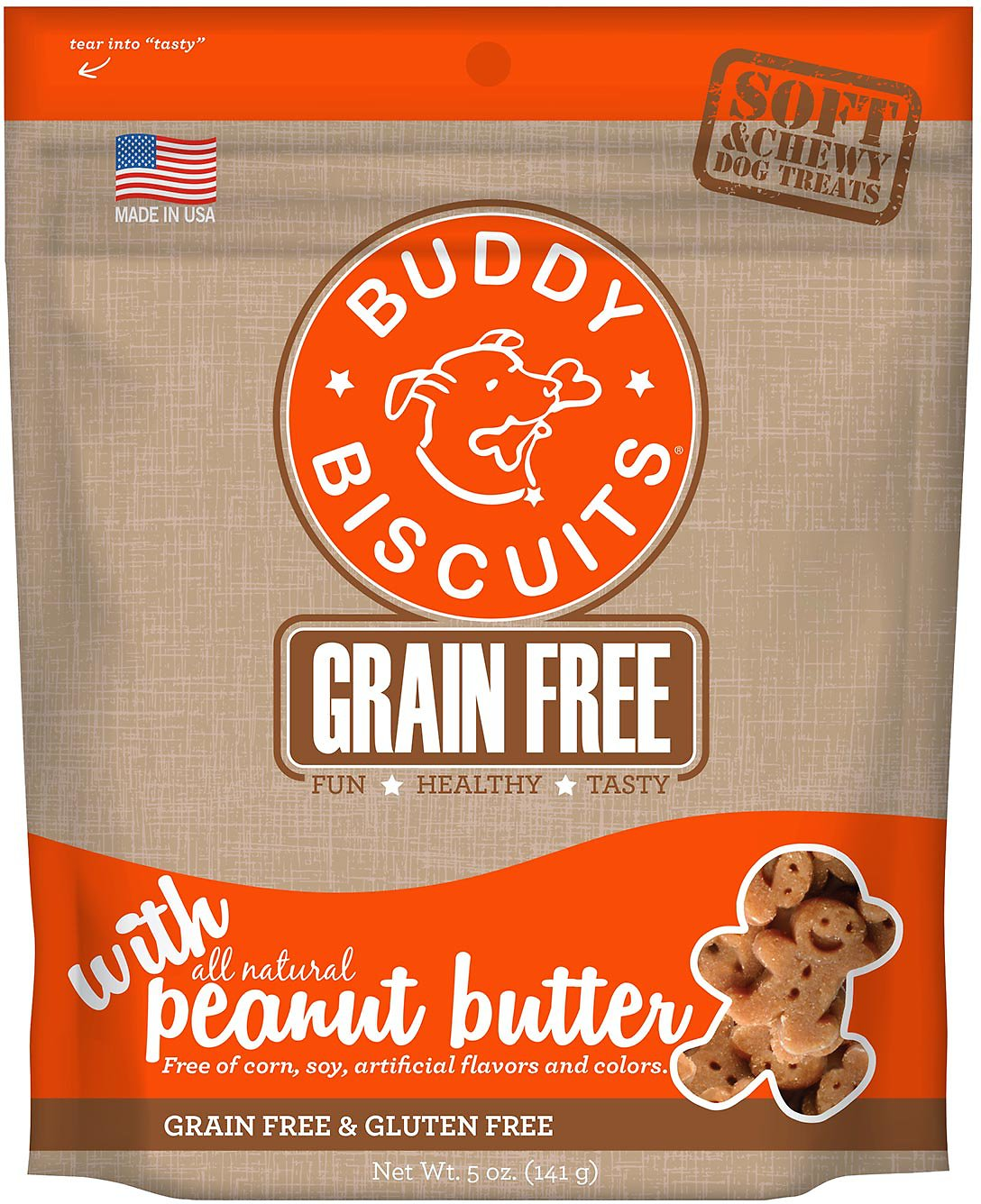 Buddy Biscuits Grain-Free Soft & Chewy with Homestyle Peanut Butter Dog Treats, 5-oz bag