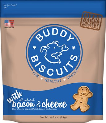 Buddy Biscuits with Bacon & Cheese Oven Baked Dog Treats, 3.5-lb bag