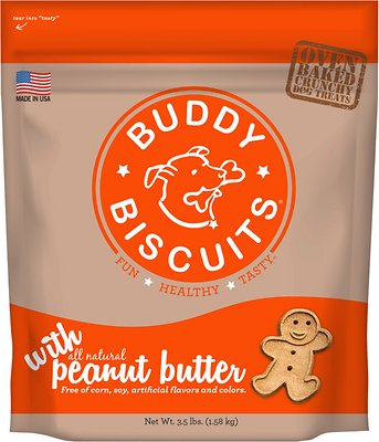 Buddy Biscuits with Peanut Butter Oven Baked Dog Treats, 3.5-lb bag