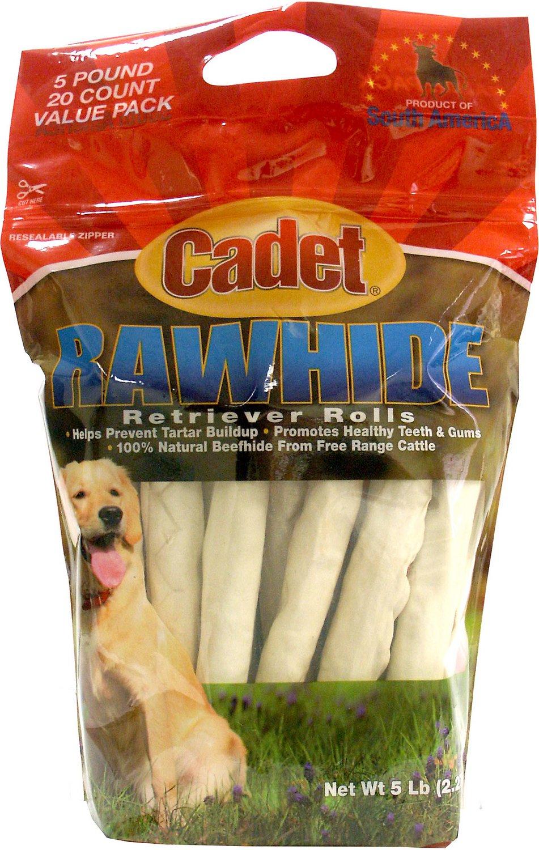 Cadet Rawhide Retriever Roll Dog Treats, 5-lb bag