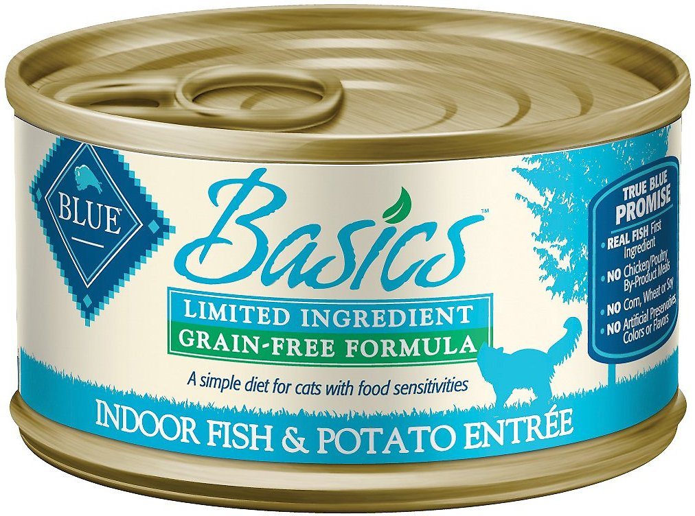 Blue Buffalo Basics Limited Ingredient Grain-Free Indoor Fish & Potato Entree Adult Canned Cat Food, 3-oz