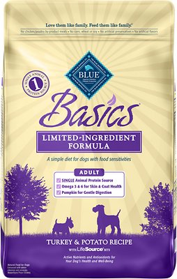 Blue Buffalo Basics Limited Ingredient Formula Turkey & Potato Recipe Adult Dry Dog Food, 24-lb bag