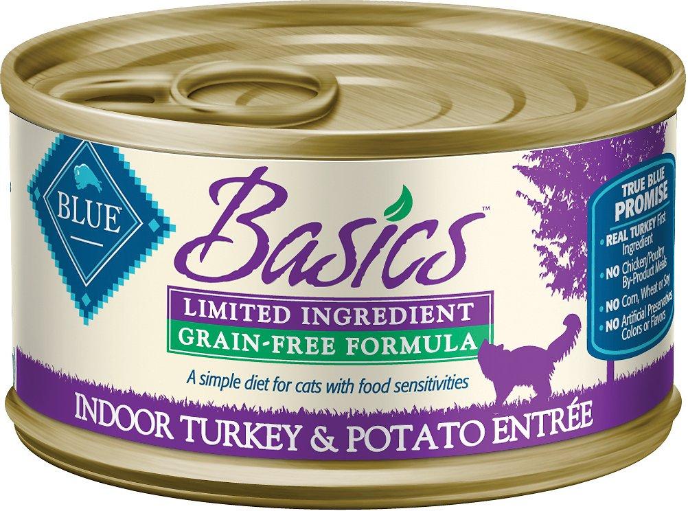 Blue Buffalo Basics Limited Ingredient Grain-Free Indoor Turkey & Potato Entree Adult Canned Cat Food, 5.5-oz