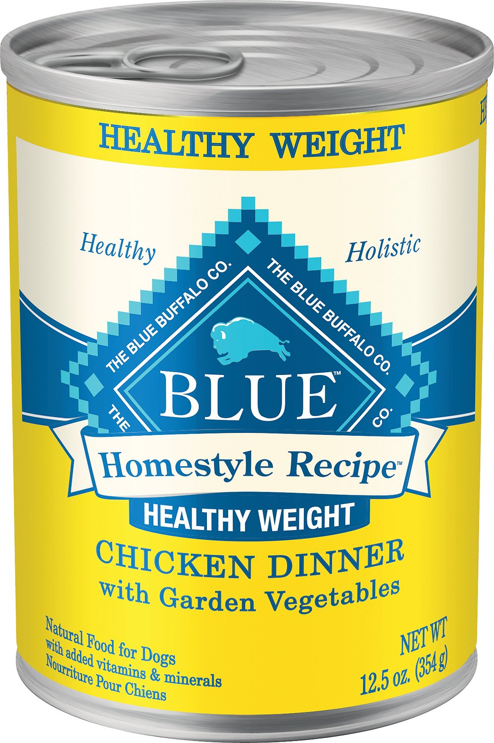 Blue Buffalo Homestyle Recipe Healthy Weight Chicken Dinner with Garden Vegetables & Brown Rice Canned Dog Food, 12.5-oz