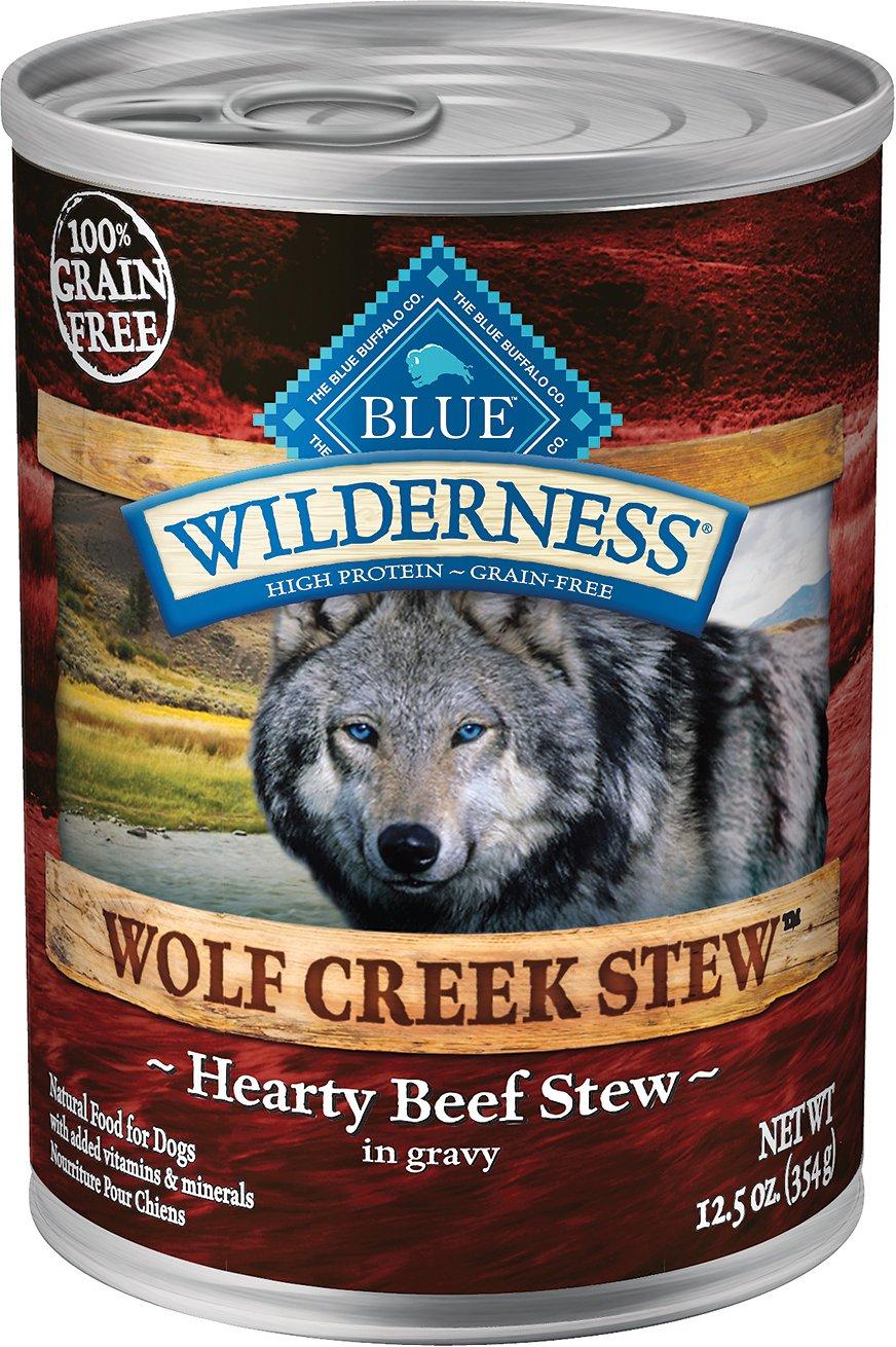 Blue Buffalo Wilderness Wolf Creek Stew Hearty Beef Stew Grain-Free Adult Canned Dog Food Image