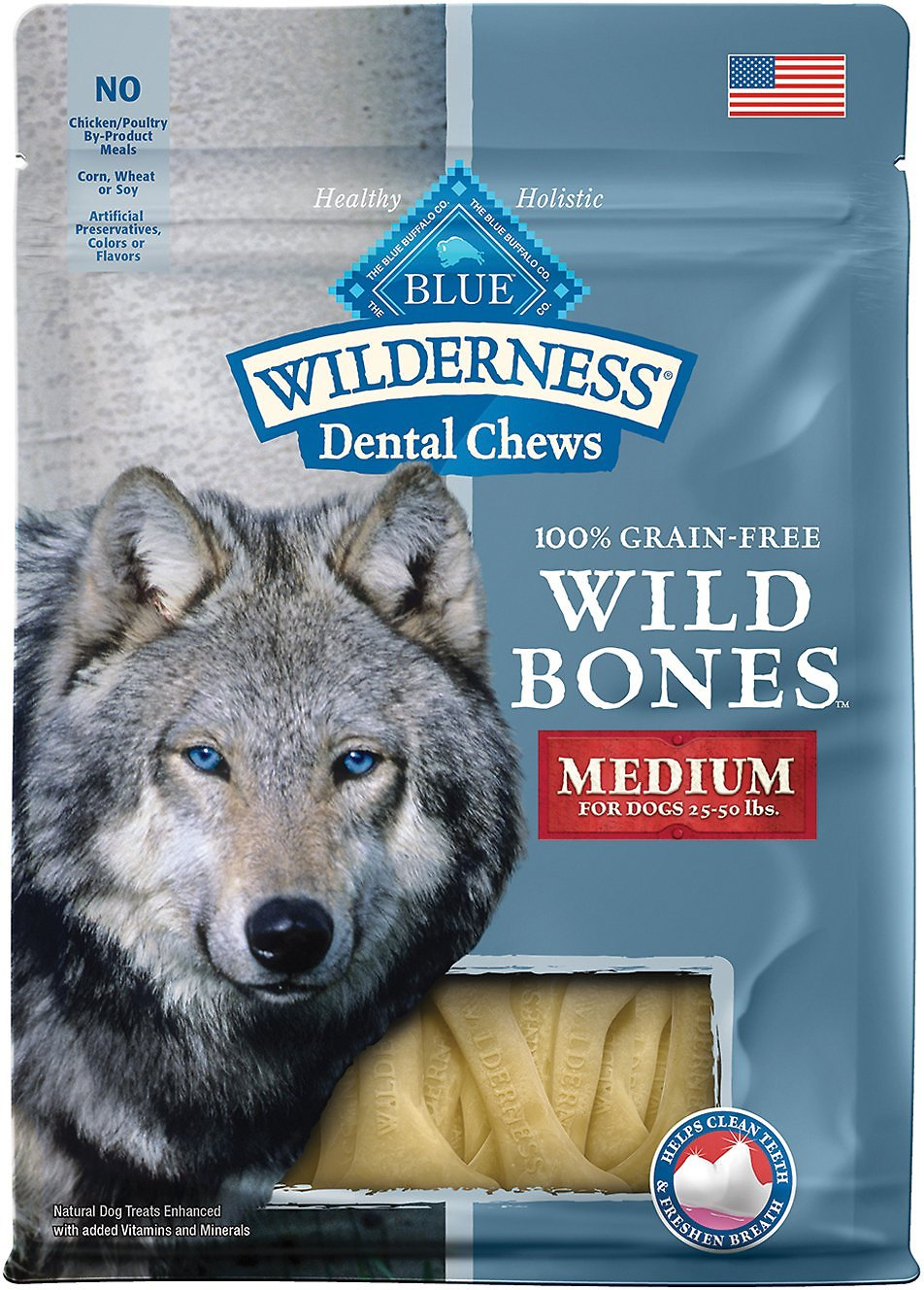 Blue Buffalo Wilderness Wild Bones Medium Dental Chews Grain-Free Dog Treats, 10-oz bag