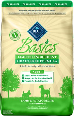 Blue Buffalo Basics Limited Ingredient Grain-Free Formula Lamb & Potato Recipe Adult Dry Dog Food, 22-lb bag