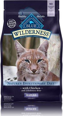 Blue Buffalo Wilderness Mature Chicken Recipe Grain-Free Dry Cat Food, 5-lb bag