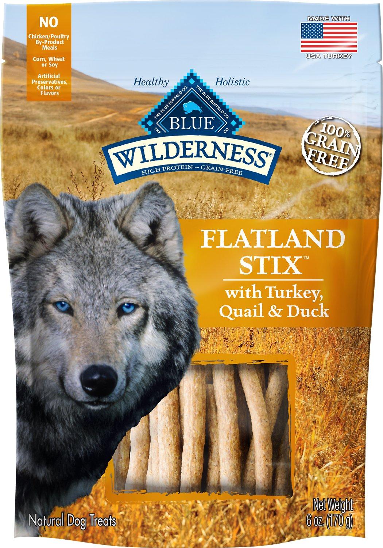 Blue Buffalo Wilderness Flatland Stix Turkey, Quail & Duck Grain-Free Dog Treats, 6-oz bag