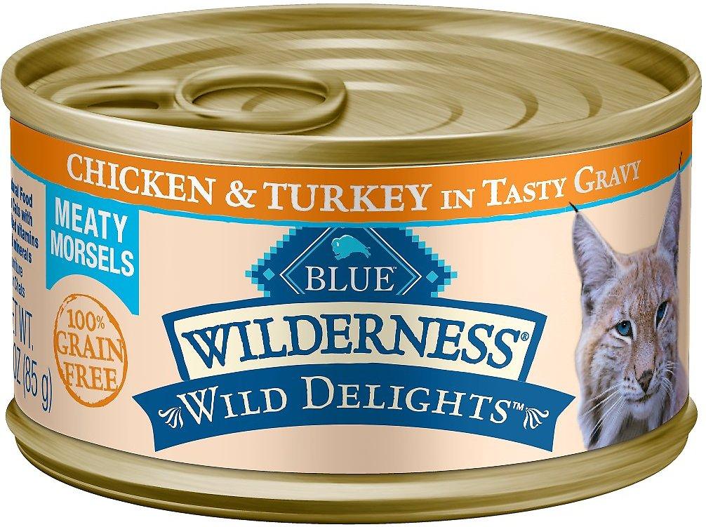 Blue Buffalo Wilderness Wild Delights Chicken & Turkey in Tasty Gravy Grain-Free Canned Cat Food Image