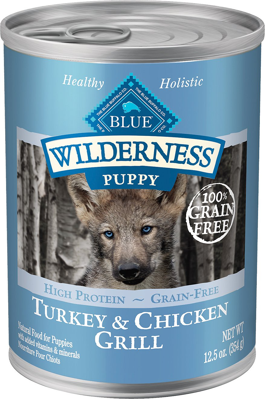 Blue Buffalo Wilderness Turkey & Chicken Grill Grain-Free Puppy Canned Dog Food, 12.5-oz