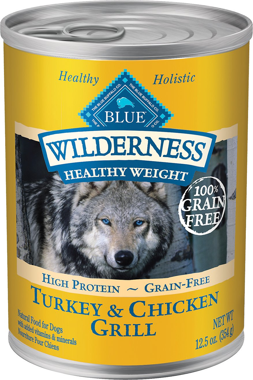 Blue Buffalo Wilderness Healthy Weight Turkey & Chicken Grill Grain-Free Adult Canned Dog Food, 12.5-oz