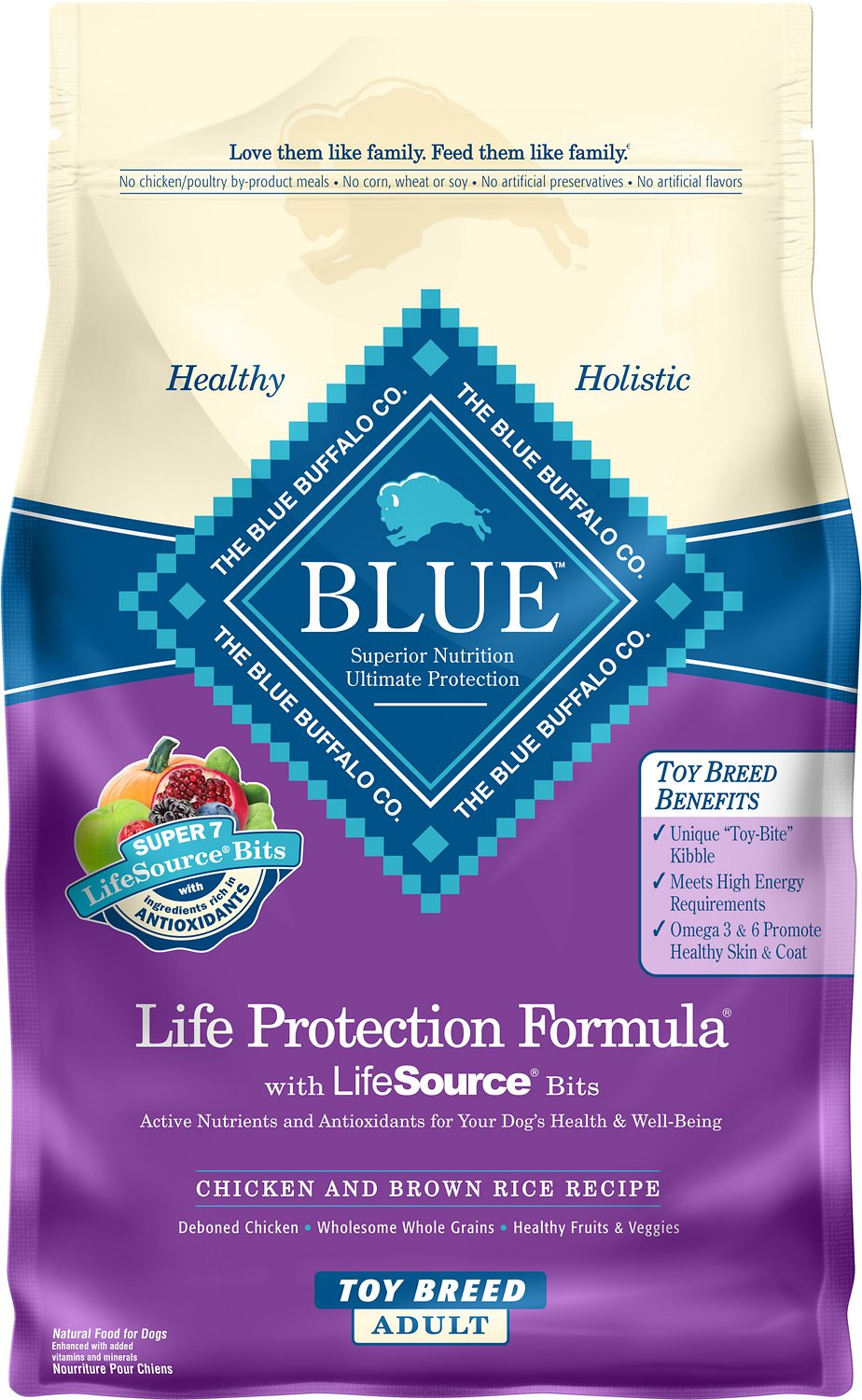 Blue Buffalo Life Protection Formula Toy Breed Adult Chicken & Brown Rice Recipe Dry Dog Food, 4-lb bag