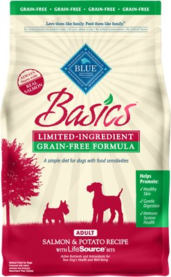Blue Buffalo Basics Limited Ingredient Grain-Free Formula Salmon & Potato Recipe Adult Dry Dog Food, 4-lb bag Size: 4-lb bag, Weights: 4.0 pounds