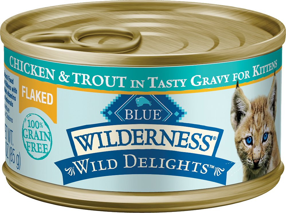Blue Buffalo Wilderness Wild Delights Flaked Chicken & Trout in Tasty Gravy for Kittens Grain-Free Canned Cat Food Image