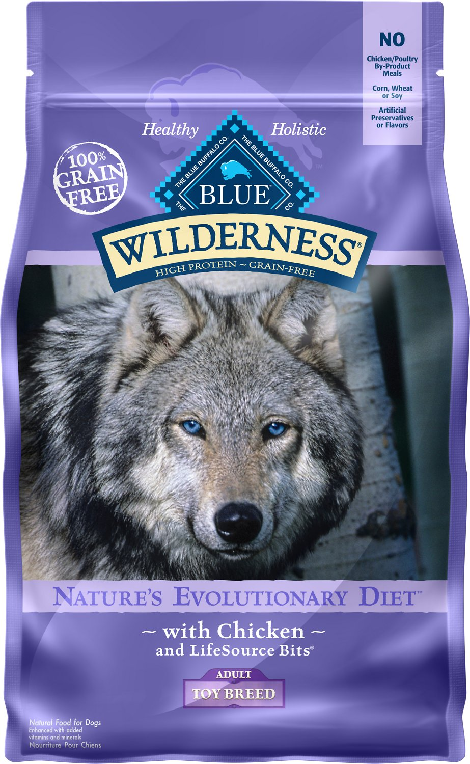 Blue Buffalo Wilderness Toy Breed Adult Chicken Recipe Grain-Free Dry Dog Food, 4-lb bag (Weights: 4.0 pounds) Image
