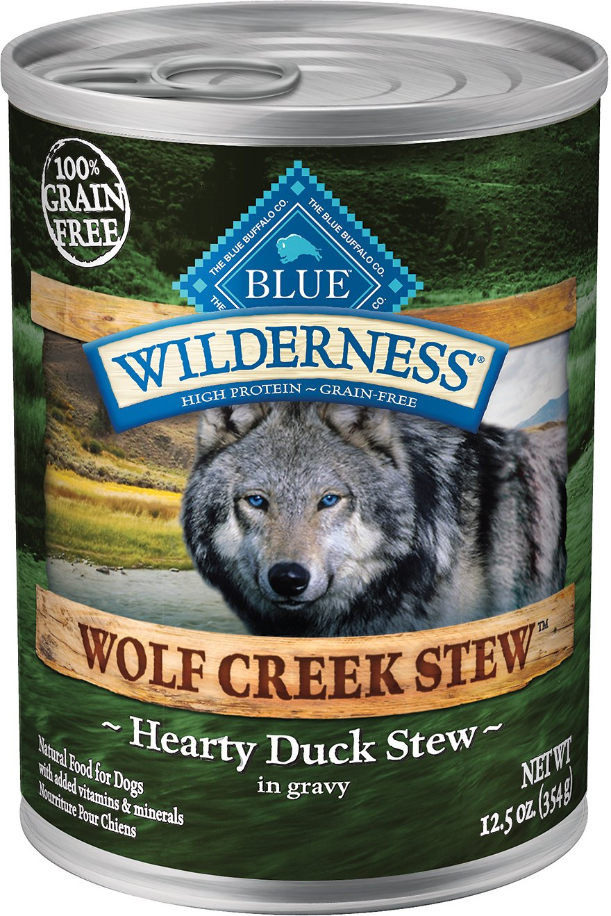 Blue Buffalo Wilderness Wolf Creek Stew Hearty Duck Stew Grain-Free Adult Canned Dog Food, 12.5-oz