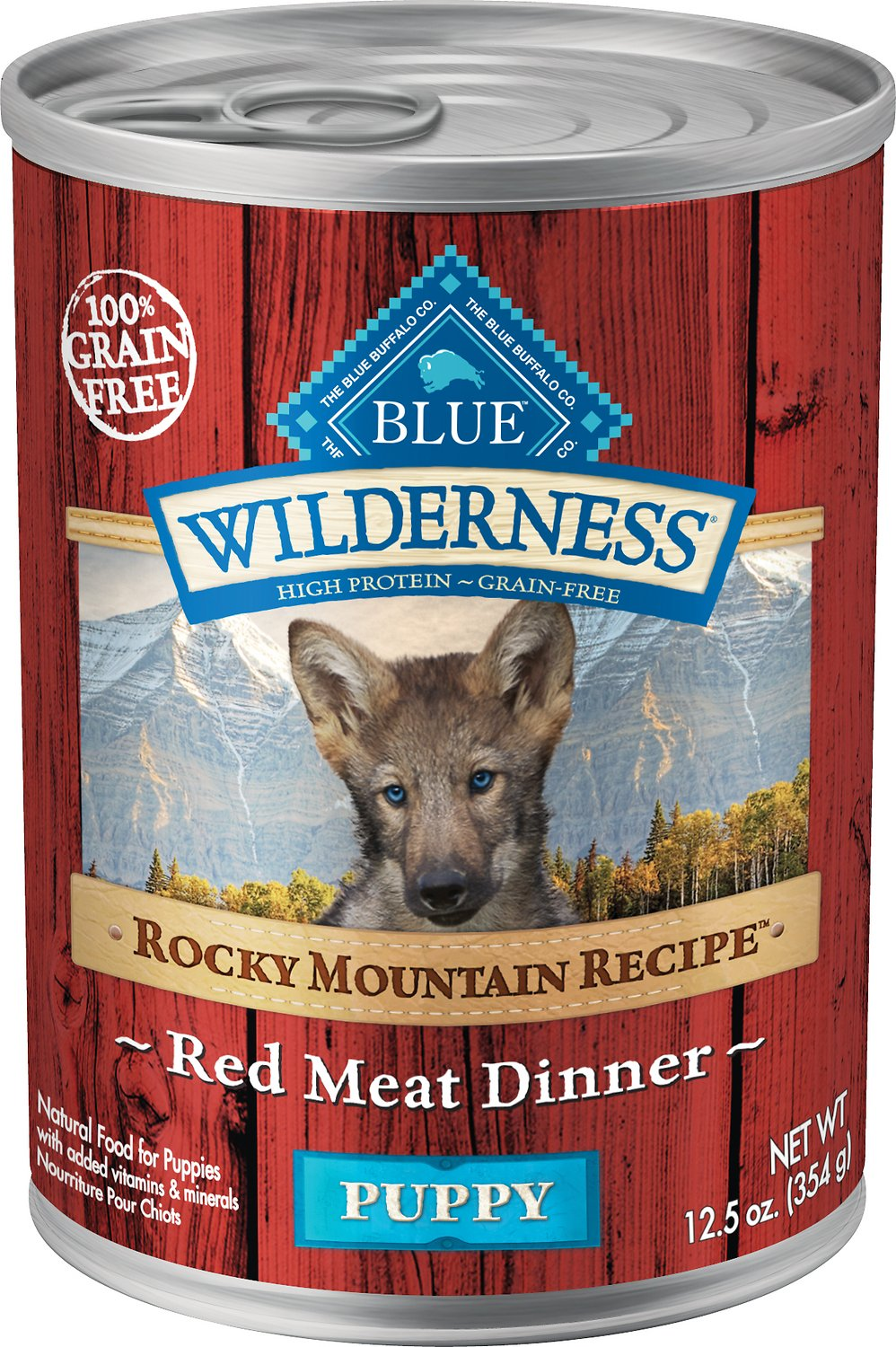 Blue Buffalo Wilderness Rocky Mountain Recipe Red Meat Dinner Puppy Grain-Free Canned Dog Food, 12.5-oz