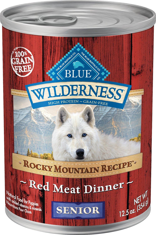 Blue Buffalo Wilderness Rocky Mountain Recipe Red Meat Dinner Senior Grain-Free Canned Dog Food, 12.5-oz
