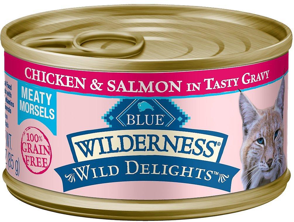 Blue Buffalo Wilderness Wild Delights Chicken & Salmon in Tasty Gravy Grain-Free Canned Cat Food Image