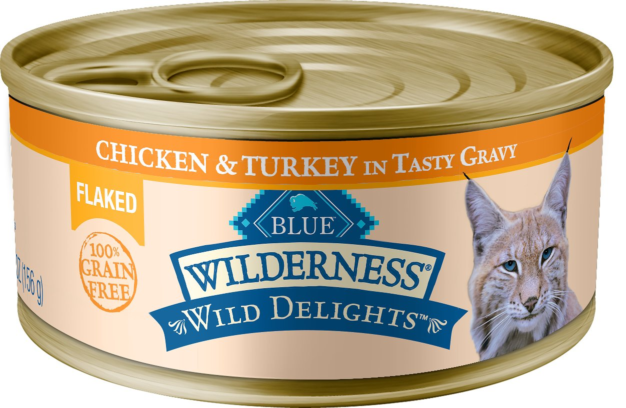 Blue Buffalo Wilderness Wild Delights Flaked Chicken & Turkey Grain-Free Canned Cat Food Image