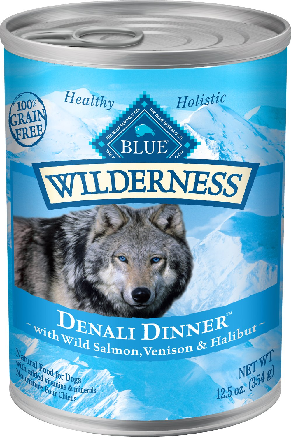 Blue Buffalo Wilderness Denali Dinner with Wild Salmon, Venison & Halibut Grain-Free Canned Dog Food Image