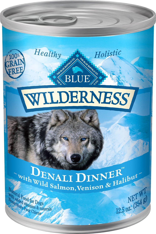 Blue Buffalo Wilderness Denali Dinner with Wild Salmon, Venison & Halibut Grain-Free Canned Dog Food, 12.5-oz