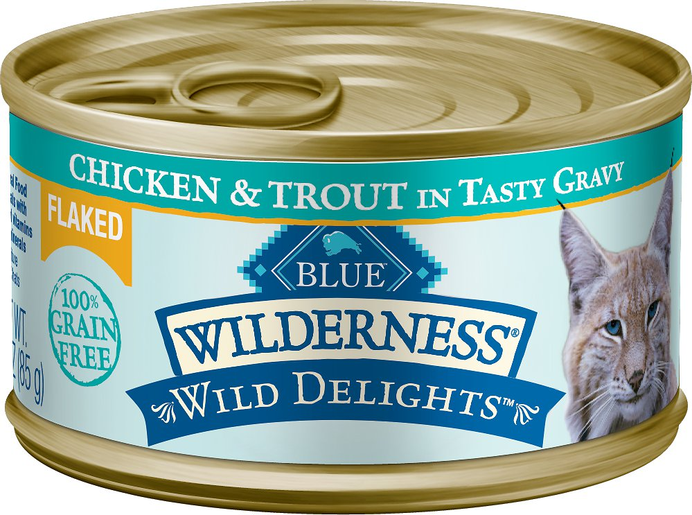 Blue Buffalo Wilderness Wild Delights Flaked Chicken & Trout Grain-Free Canned Cat Food Image