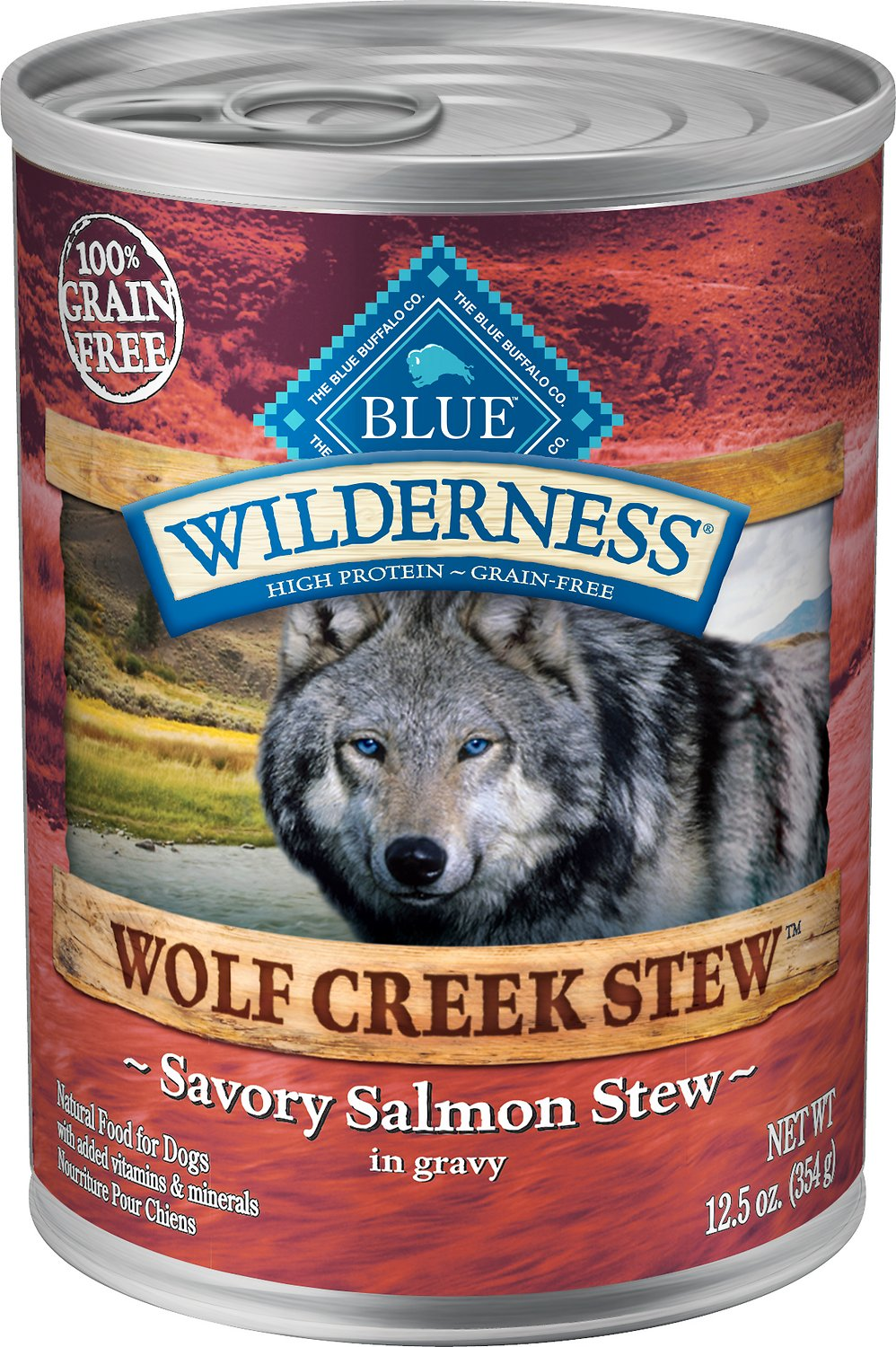 Blue Buffalo Wilderness Wolf Creek Stew Savory Salmon Stew Grain-Free Adult Canned Dog Food Image