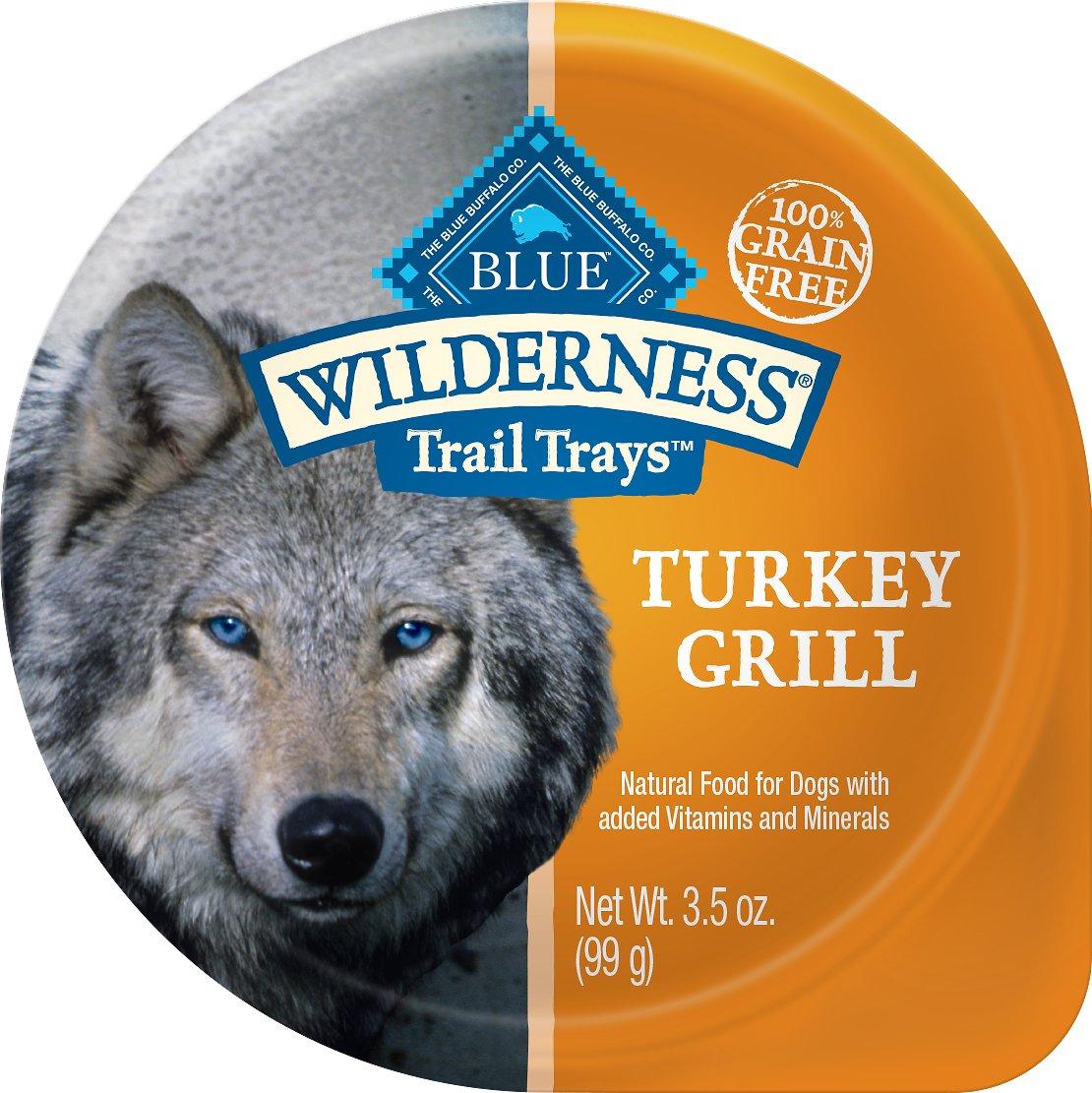 Blue Buffalo Wilderness Trail Trays Turkey Grill Formula Grain-Free Dog Food Trays, 3.5-oz