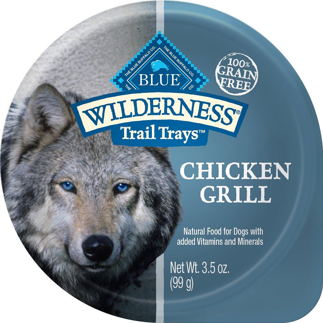 Blue Buffalo Wilderness Trail Trays Chicken Grill Formula Grain-Free Dog Food Trays, 3.5-oz