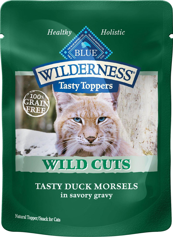 Blue Buffalo Wilderness Tasty Toppers Wild Cuts Tasty Duck Morsels in Savory Gravy Grain-Free Cat Food Topper, 3-oz, case of 24