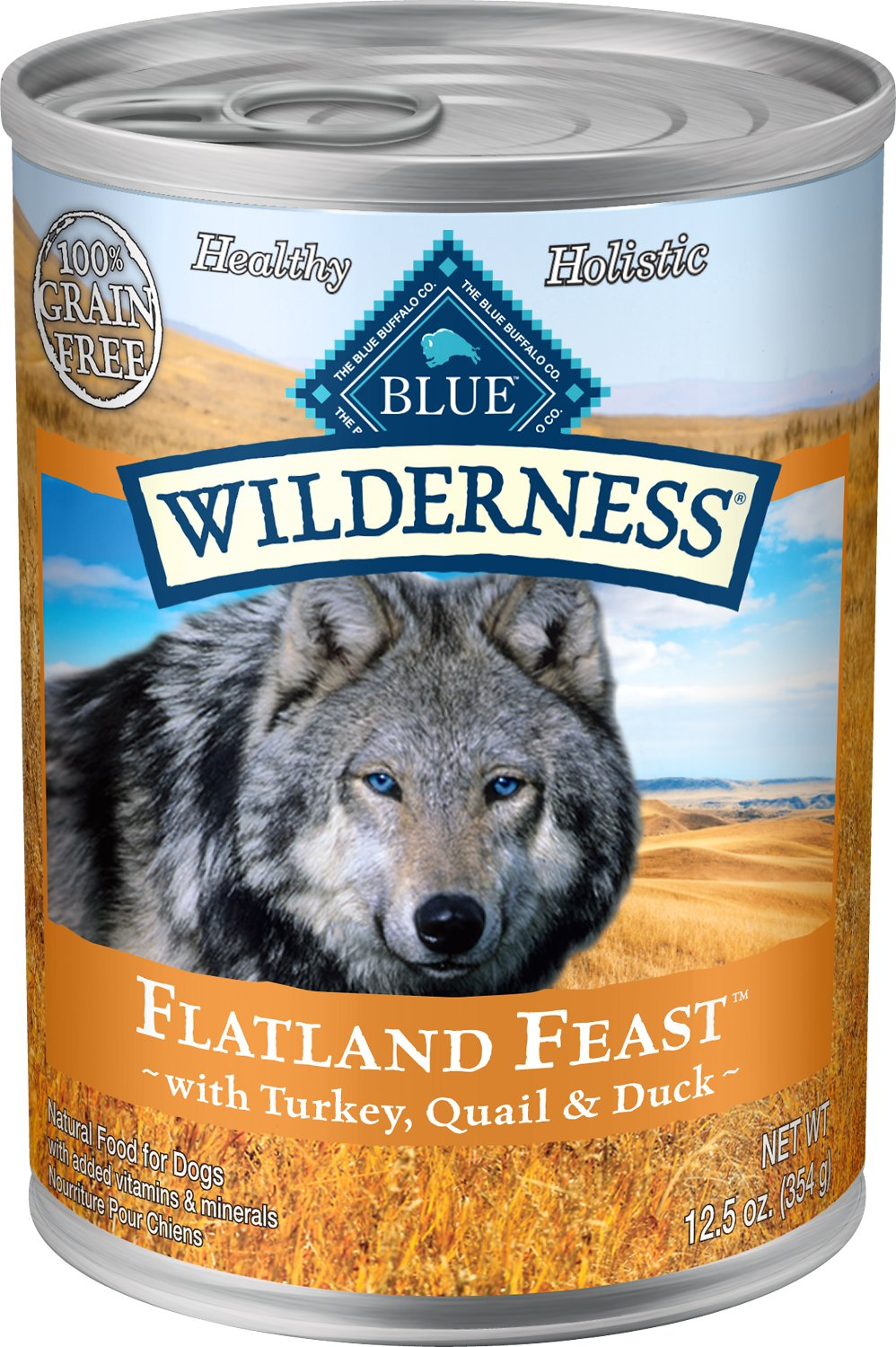 Blue Buffalo Wilderness Flatland Feast Turkey, Quail & Duck Formula Grain-Free Canned Dog Food, 12.5-oz